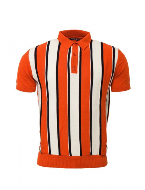 Relco Orange & White Striped Knitted Polo